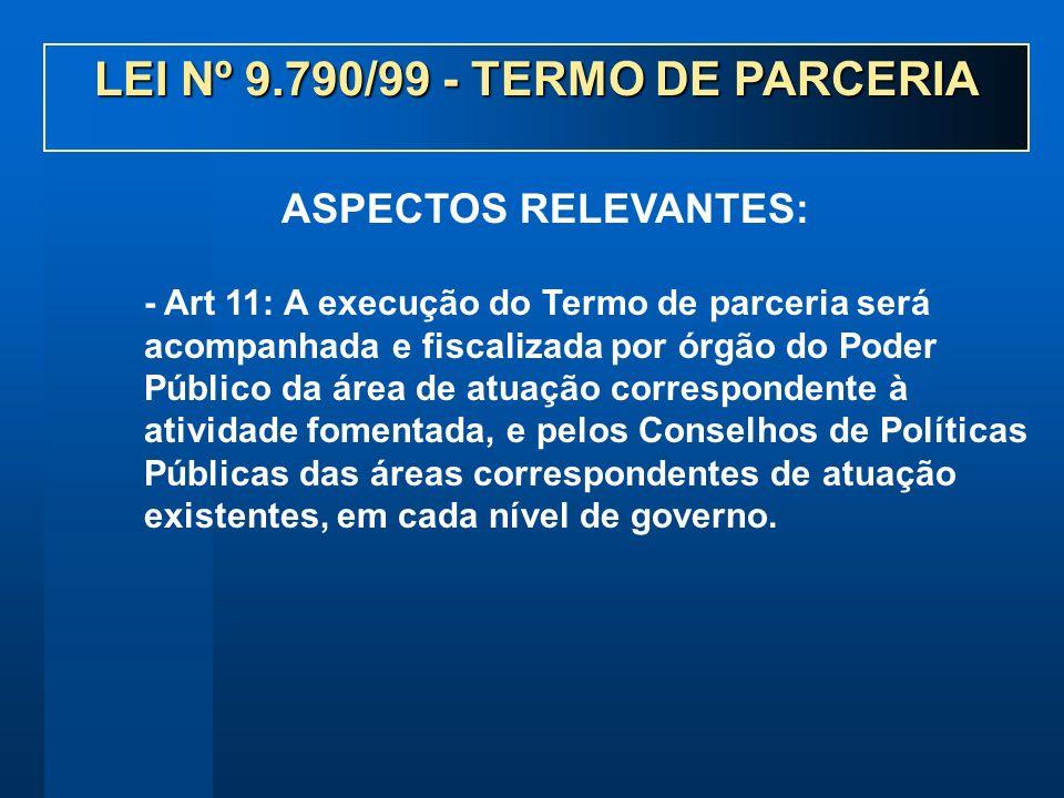 - Art 11: A execução do Termo de parceria será acompanhada e fiscalizada por órgão do Poder Público da área de atuação correspondente à atividade fome