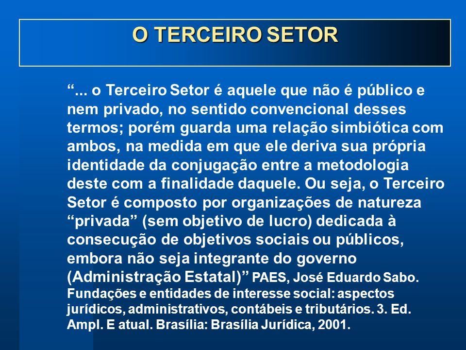 ... o Terceiro Setor é aquele que não é público e nem privado, no sentido convencional desses termos; porém guarda uma relação simbiótica com ambos, n