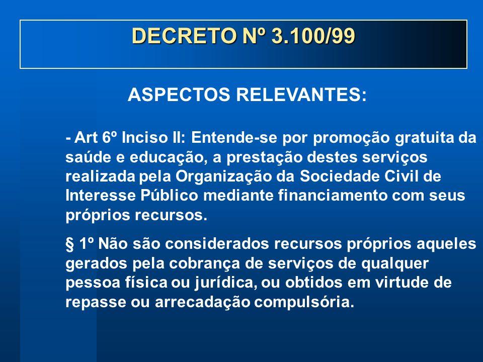 - Art 6º Inciso II: Entende-se por promoção gratuita da saúde e educação, a prestação destes serviços realizada pela Organização da Sociedade Civil de