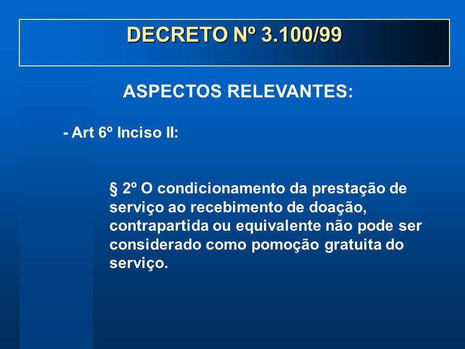 - Art 6º Inciso II: § 2º O condicionamento da prestação de serviço ao recebimento de doação, contrapartida ou equivalente não pode ser considerado com
