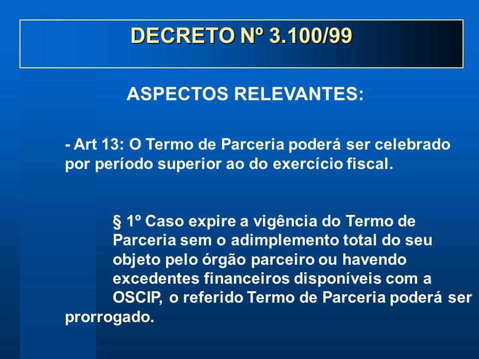 - Art 13: O Termo de Parceria poderá ser celebrado por período superior ao do exercício fiscal. § 1º Caso expire a vigência do Termo de Parceria sem o