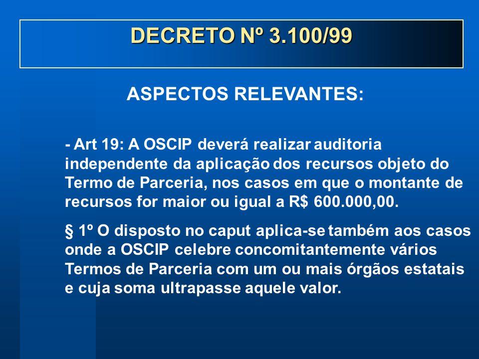 - Art 19: A OSCIP deverá realizar auditoria independente da aplicação dos recursos objeto do Termo de Parceria, nos casos em que o montante de recursos for maior ou igual a R$ 600.000,00.