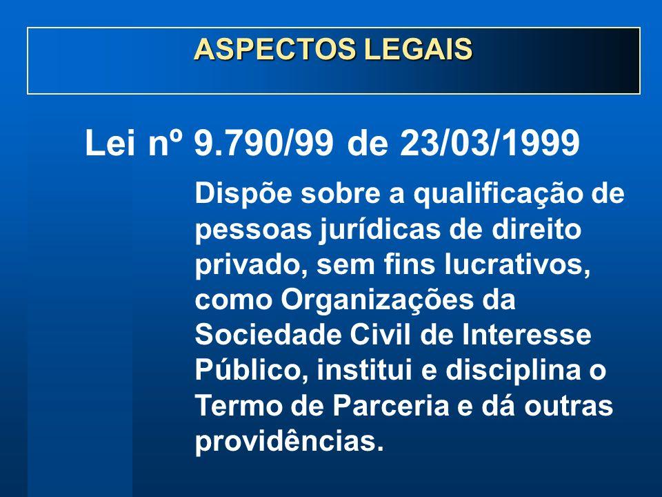 Lei nº 9.790/99 de 23/03/1999 Dispõe sobre a qualificação de pessoas jurídicas de direito privado, sem fins lucrativos, como Organizações da Sociedade Civil de Interesse Público, institui e disciplina o Termo de Parceria e dá outras providências.