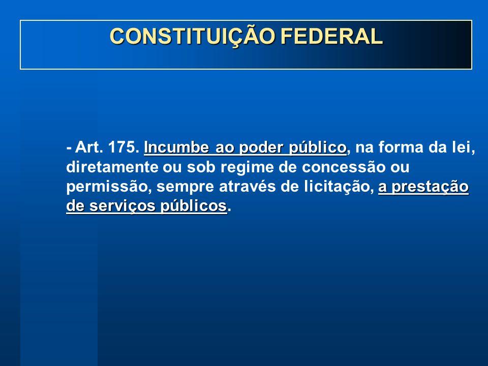 Incumbe ao poder público a prestação de serviços públicos - Art. 175. Incumbe ao poder público, na forma da lei, diretamente ou sob regime de concessã