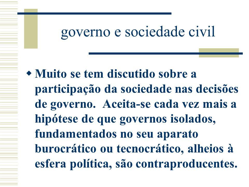 governo e sociedade civil Muito se tem discutido sobre a participação da sociedade nas decisões de governo. Aceita-se cada vez mais a hipótese de que