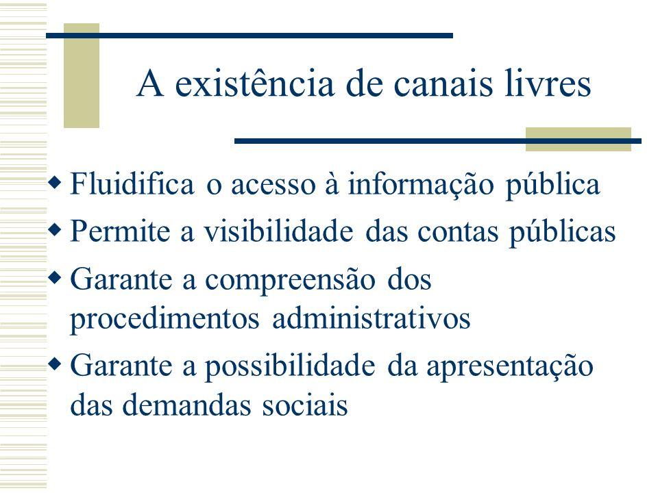 A existência de canais livres Fluidifica o acesso à informação pública Permite a visibilidade das contas públicas Garante a compreensão dos procedimen