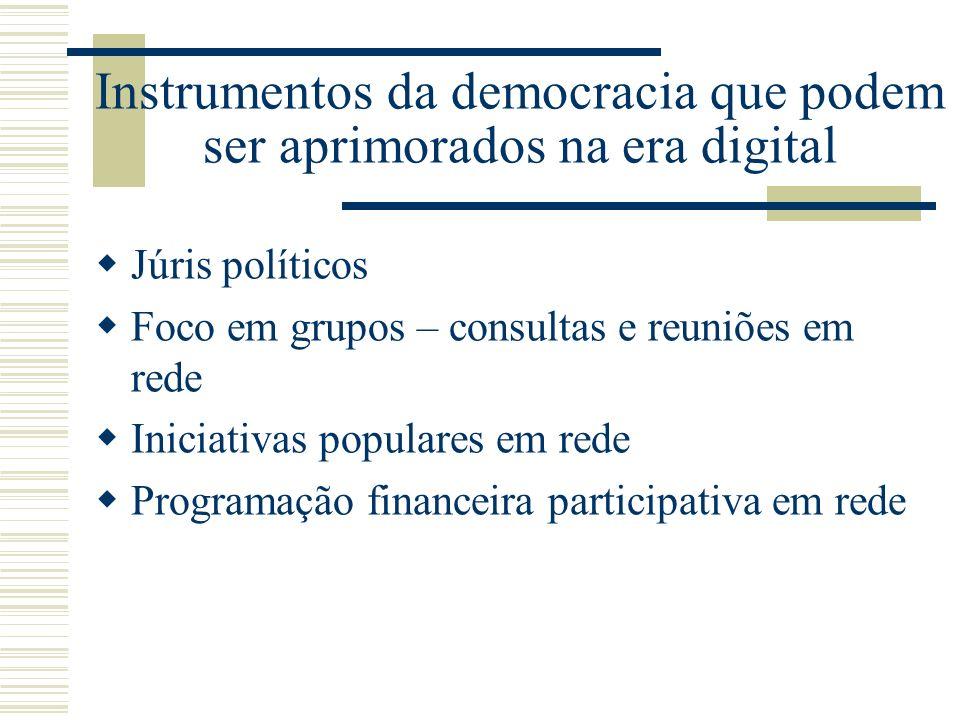 Instrumentos da democracia que podem ser aprimorados na era digital Júris políticos Foco em grupos – consultas e reuniões em rede Iniciativas populare
