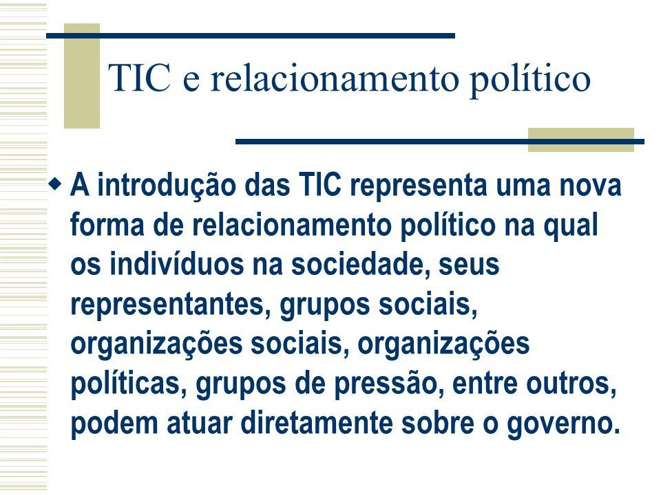 TIC e relacionamento político A introdução das TIC representa uma nova forma de relacionamento político na qual os indivíduos na sociedade, seus repre