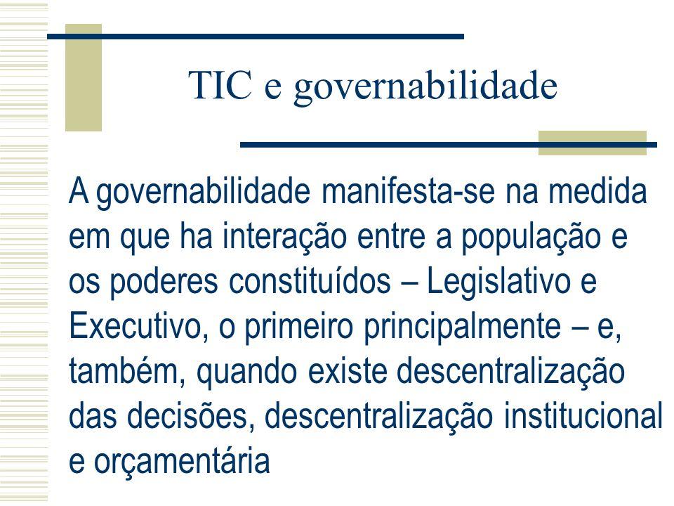 TIC e governabilidade A governabilidade manifesta-se na medida em que ha interação entre a população e os poderes constituídos – Legislativo e Executi