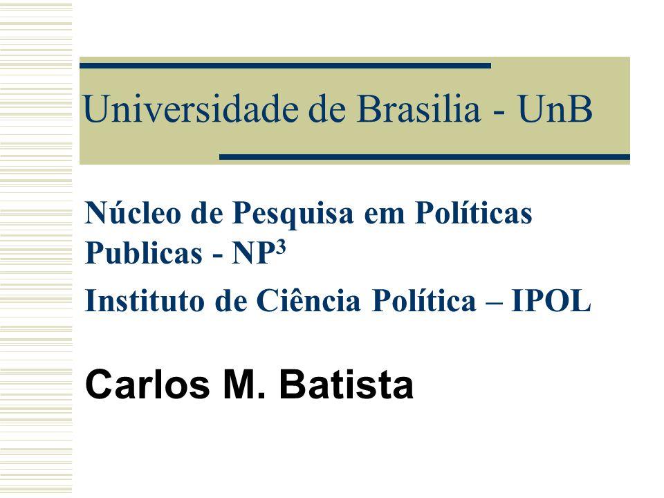 Universidade de Brasilia - UnB Núcleo de Pesquisa em Políticas Publicas - NP 3 Instituto de Ciência Política – IPOL Carlos M. Batista