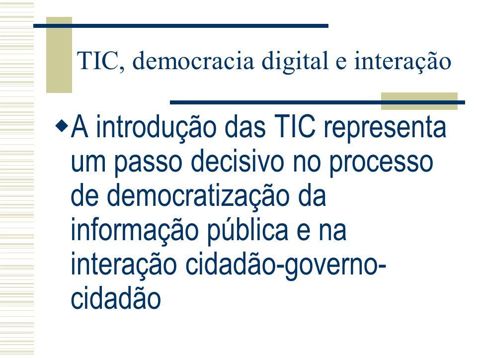 TIC, democracia digital e interação A introdução das TIC representa um passo decisivo no processo de democratização da informação pública e na interaç