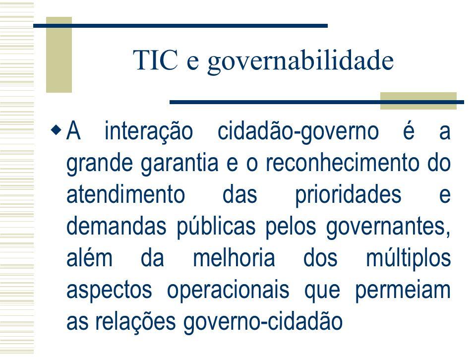 TIC e governabilidade A interação cidadão-governo é a grande garantia e o reconhecimento do atendimento das prioridades e demandas públicas pelos gove