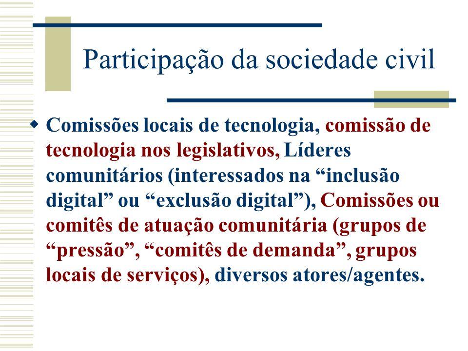 Participação da sociedade civil Comissões locais de tecnologia, comissão de tecnologia nos legislativos, Líderes comunitários (interessados na inclusã
