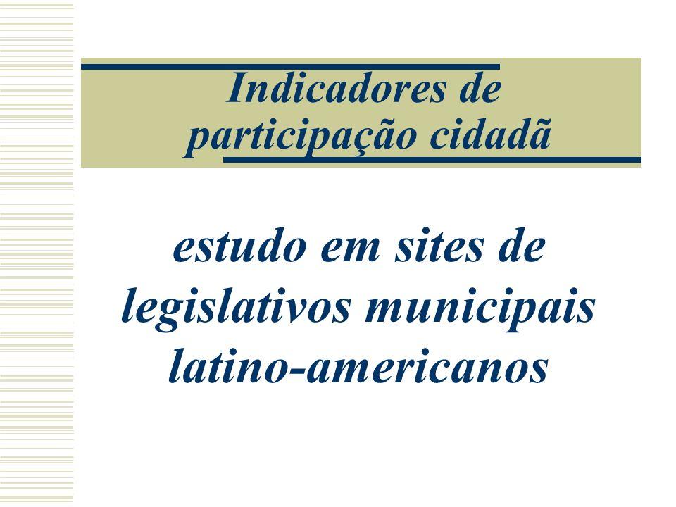 Indicadores de participação cidadã estudo em sites de legislativos municipais latino-americanos