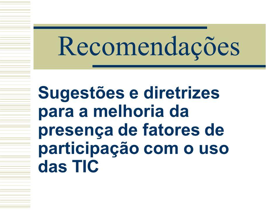 Recomendações Sugestões e diretrizes para a melhoria da presença de fatores de participação com o uso das TIC