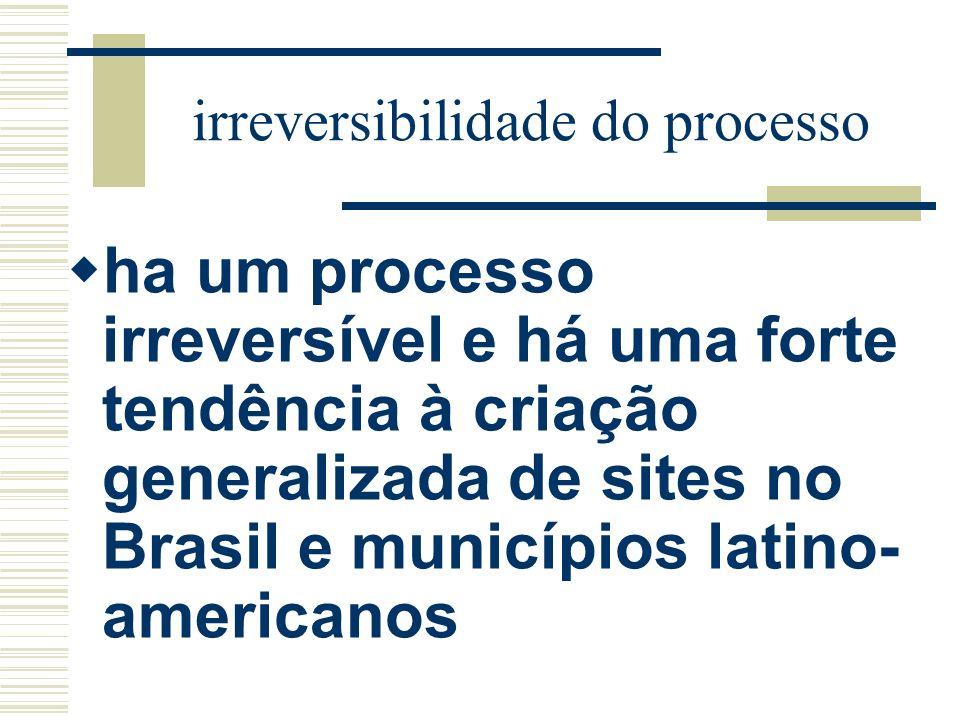 irreversibilidade do processo ha um processo irreversível e há uma forte tendência à criação generalizada de sites no Brasil e municípios latino- amer