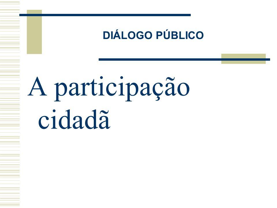 DIÁLOGO PÚBLICO A participação cidadã