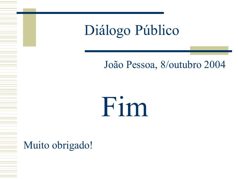 Diálogo Público João Pessoa, 8/outubro 2004 Fim Muito obrigado!