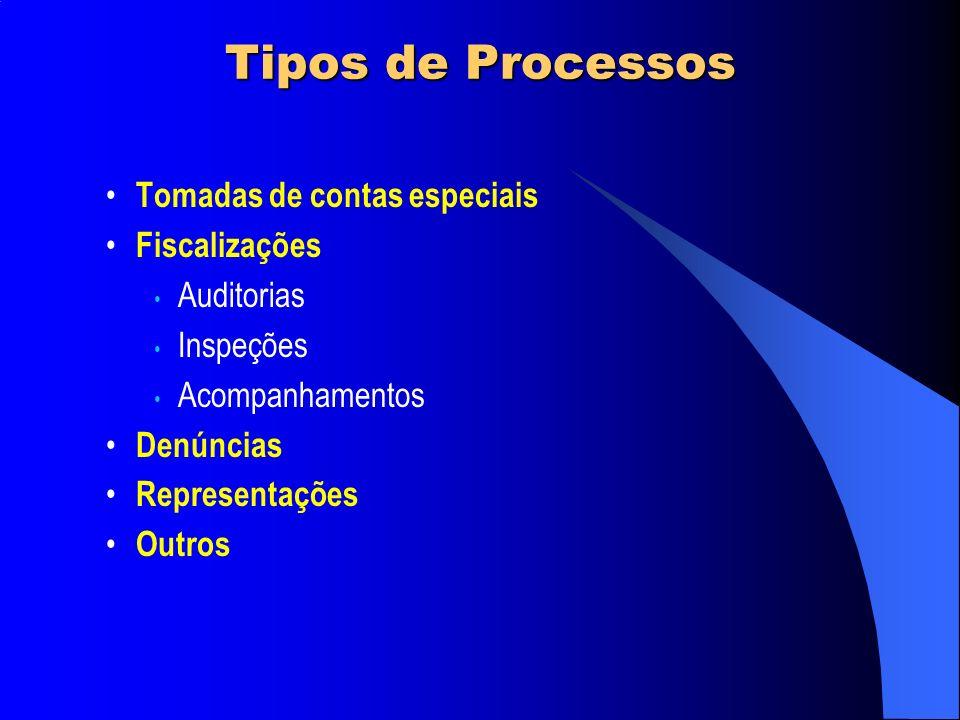 Tipos de Processos Tomadas de contas especiais Fiscalizações Auditorias Inspeções Acompanhamentos Denúncias Representações Outros