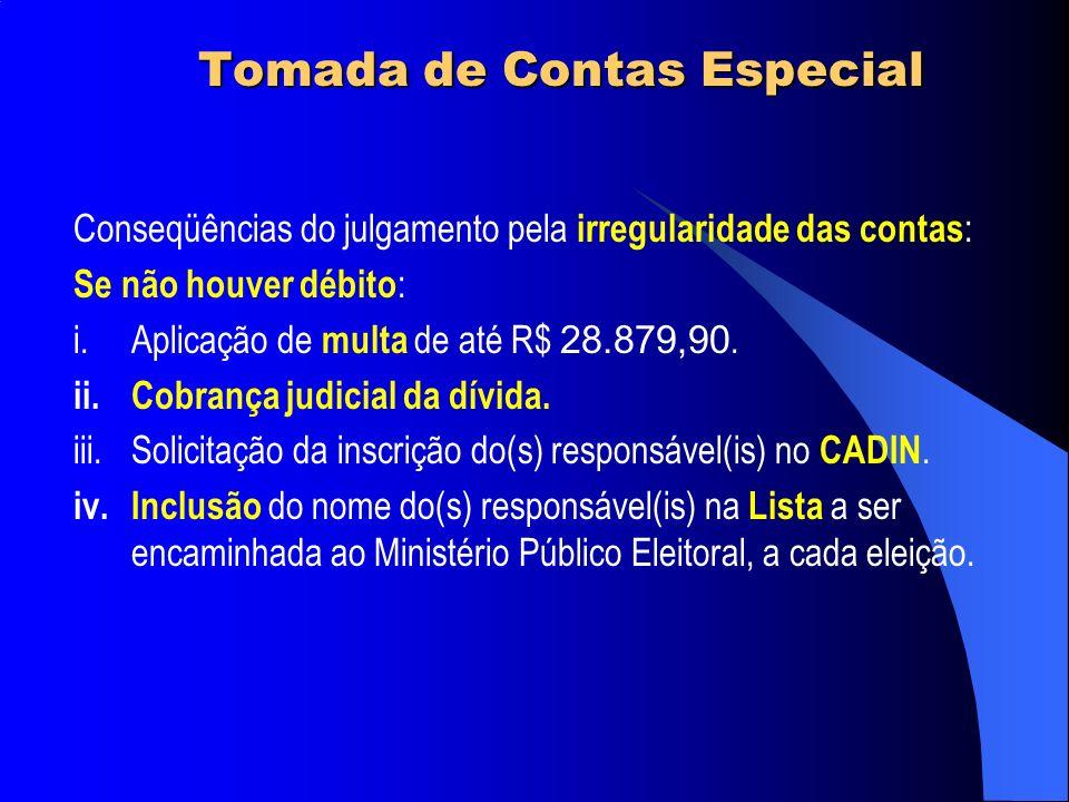 Tomada de Contas Especial Conseqüências do julgamento pela irregularidade das contas : Se não houver débito : i.Aplicação de multa de até R$ 28.879,90