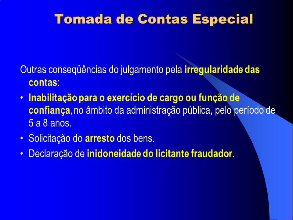 Tomada de Contas Especial Outras conseqüências do julgamento pela irregularidade das contas : Inabilitação para o exercício de cargo ou função de conf