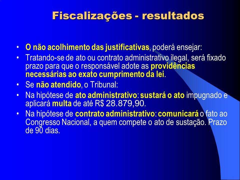 O não acolhimento das justificativas, poderá ensejar: Tratando-se de ato ou contrato administrativo ilegal, será fixado prazo para que o responsável a