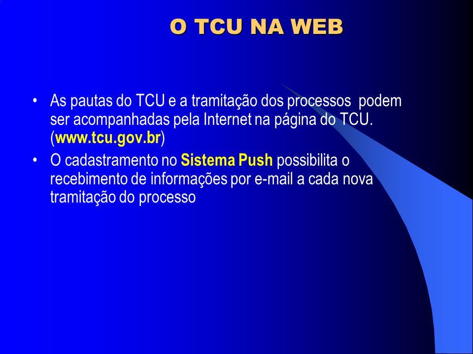 O TCU NA WEB As pautas do TCU e a tramitação dos processos podem ser acompanhadas pela Internet na página do TCU. ( www.tcu.gov.br ) O cadastramento n