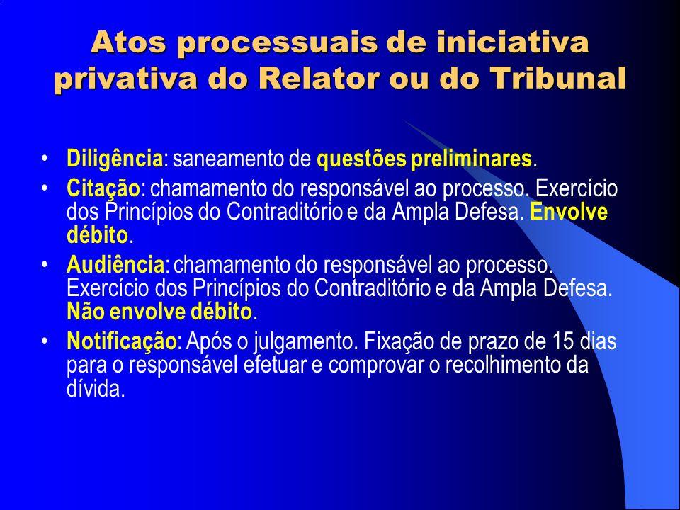 Atos processuais de iniciativa privativa do Relator ou do Tribunal Diligência : saneamento de questões preliminares. Citação : chamamento do responsáv