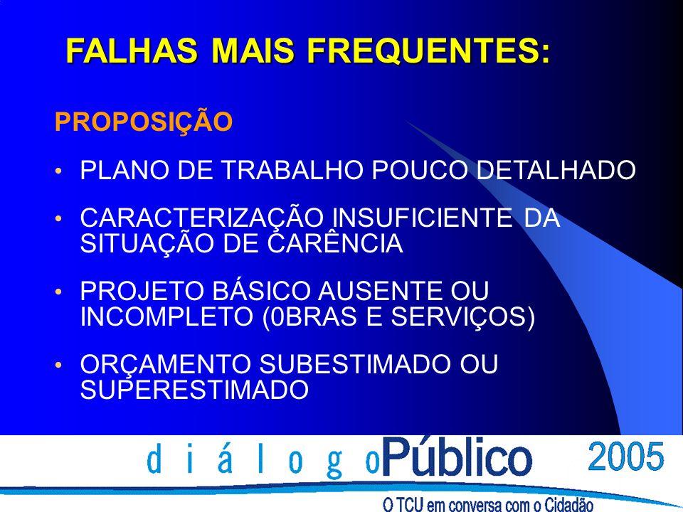 FALHAS MAIS FREQUENTES: PROPOSIÇÃO PLANO DE TRABALHO POUCO DETALHADO CARACTERIZAÇÃO INSUFICIENTE DA SITUAÇÃO DE CARÊNCIA PROJETO BÁSICO AUSENTE OU INCOMPLETO (0BRAS E SERVIÇOS) ORÇAMENTO SUBESTIMADO OU SUPERESTIMADO