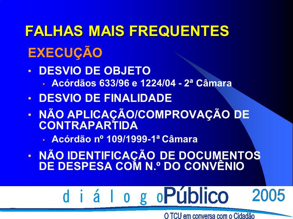 FALHAS MAIS FREQUENTES EXECUÇÃO DESVIO DE OBJETO Acórdãos 633/96 e 1224/04 - 2ª Câmara DESVIO DE FINALIDADE NÃO APLICAÇÃO/COMPROVAÇÃO DE CONTRAPARTIDA Acórdão nº 109/1999-1ª Câmara NÃO IDENTIFICAÇÃO DE DOCUMENTOS DE DESPESA COM N.º DO CONVÊNIO