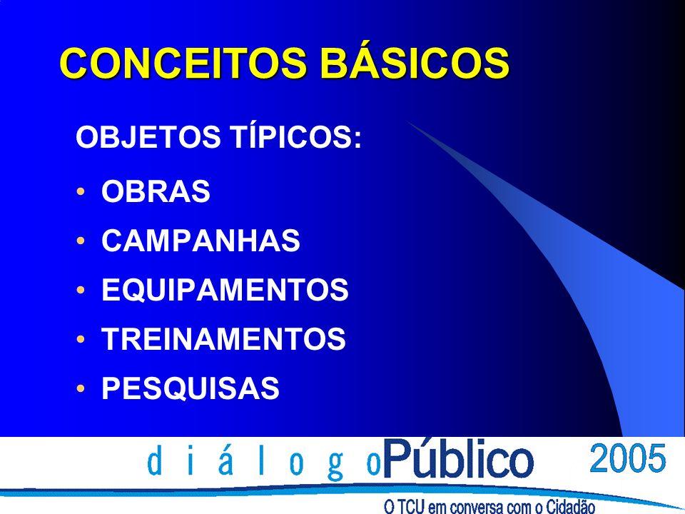 CONCEITOS BÁSICOS OBJETOS TÍPICOS: OBRAS CAMPANHAS EQUIPAMENTOS TREINAMENTOS PESQUISAS