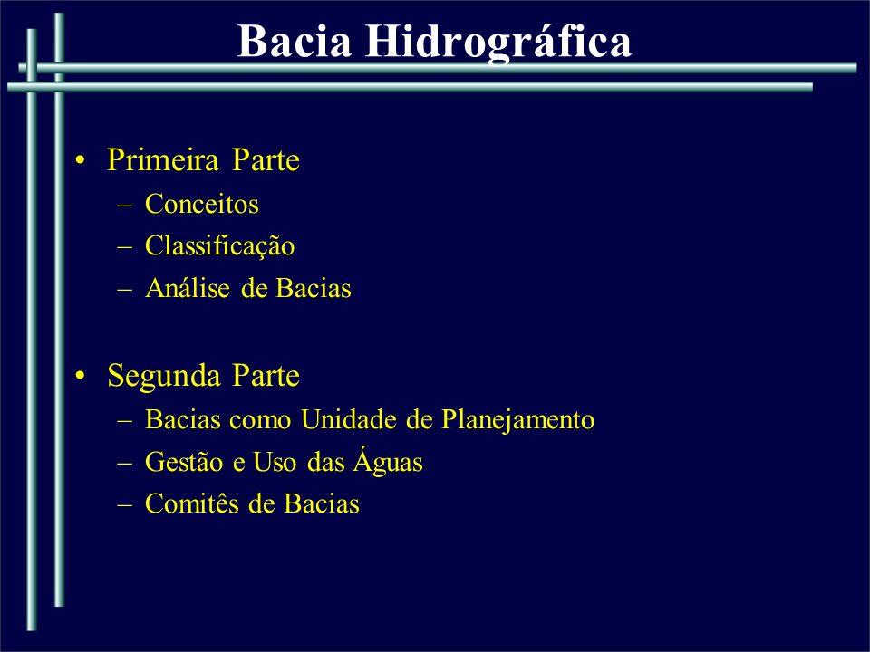 ANÁLISE DE BACIAS HIDROGRÁFICAS Abordagem quantitativa: a)Hierarquia fluvial; b)Análise linear da rede de drenagem; c)Análise areal das bacias hidrográficas; d)Análise hipsométrica; e)Análise topológica.