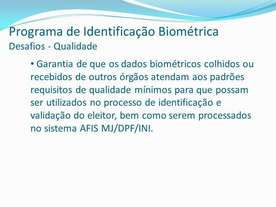 Programa de Identificação Biométrica Desafios - Qualidade Garantia de que os dados biométricos colhidos ou recebidos de outros órgãos atendam aos padrões requisitos de qualidade mínimos para que possam ser utilizados no processo de identificação e validação do eleitor, bem como serem processados no sistema AFIS MJ/DPF/INI.
