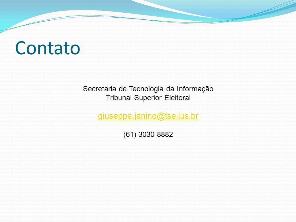Contato Secretaria de Tecnologia da Informação Tribunal Superior Eleitoral giuseppe.janino@tse.jus.br (61) 3030-8882