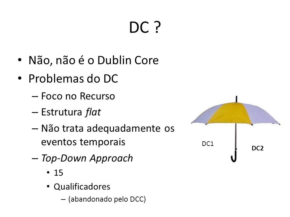 DC ? Não, não é o Dublin Core Problemas do DC – Foco no Recurso – Estrutura flat – Não trata adequadamente os eventos temporais – Top-Down Approach 15