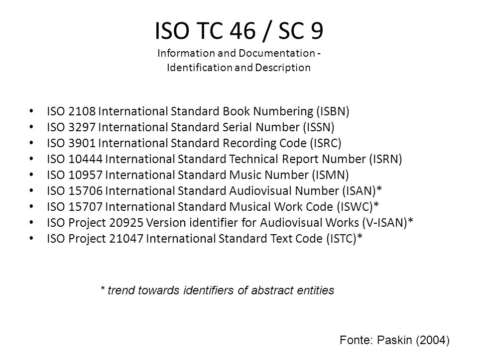 ISO TC 46 / SC 9 Information and Documentation - Identification and Description ISO 2108 International Standard Book Numbering (ISBN) ISO 3297 Interna