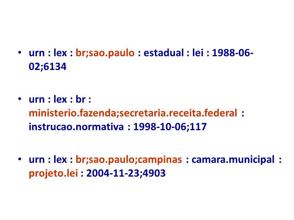 urn : lex : br;sao.paulo : estadual : lei : 1988-06- 02;6134 urn : lex : br : ministerio.fazenda;secretaria.receita.federal : instrucao.normativa : 19