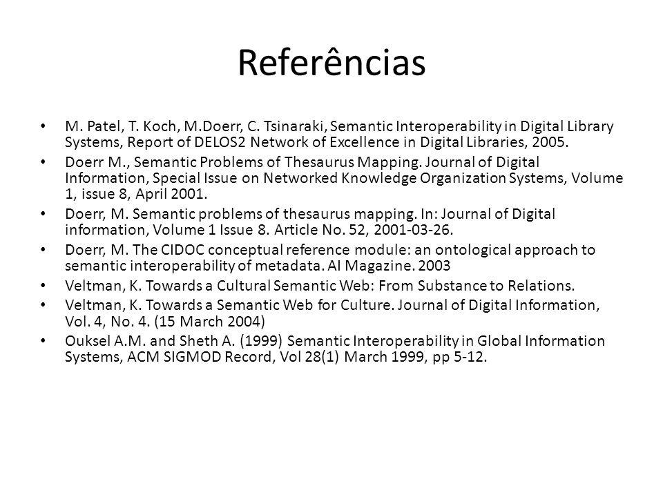 Referências M. Patel, T. Koch, M.Doerr, C. Tsinaraki, Semantic Interoperability in Digital Library Systems, Report of DELOS2 Network of Excellence in