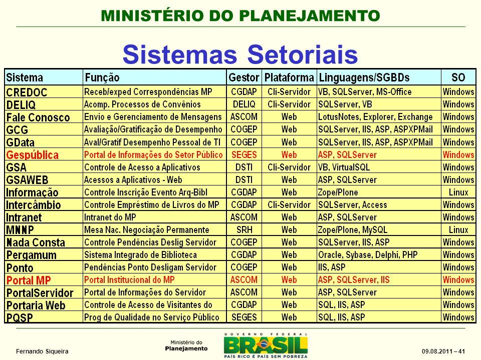MINISTÉRIO DO PLANEJAMENTO 09.08.2011 – 41 Fernando Siqueira Sistemas Setoriais