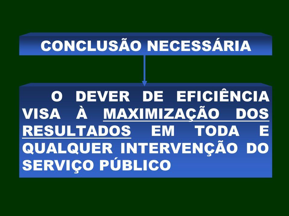 O DEVER DE EFICIÊNCIA VISA À MAXIMIZAÇÃO DOS RESULTADOS EM TODA E QUALQUER INTERVENÇÃO DO SERVIÇO PÚBLICO CONCLUSÃO NECESSÁRIA