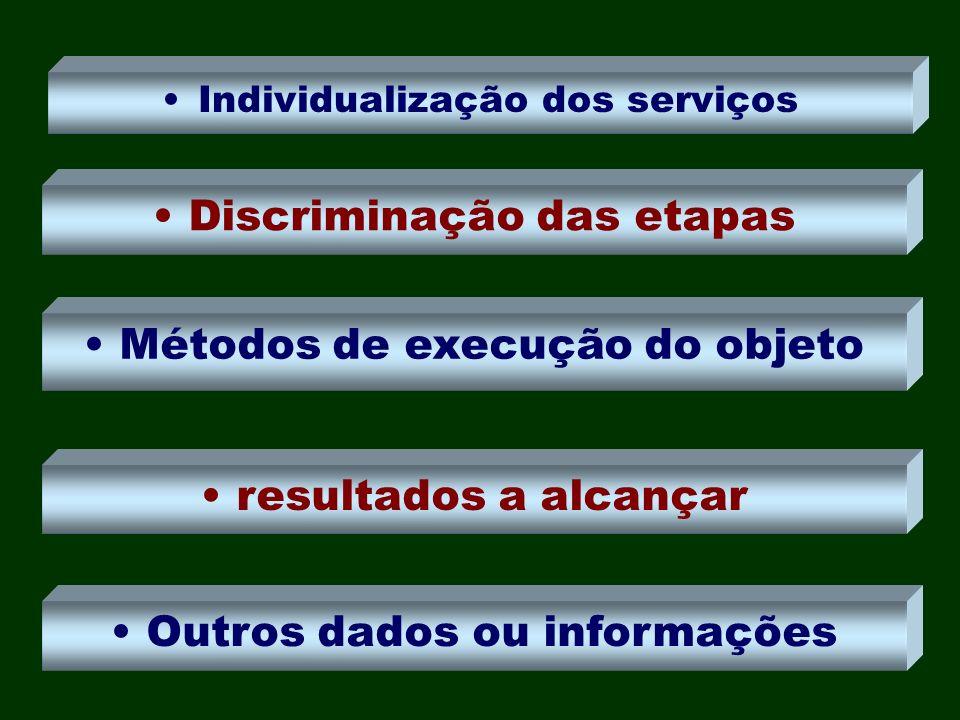 Individualização dos serviços Discriminação das etapas Métodos de execução do objeto resultados a alcançar Outros dados ou informações