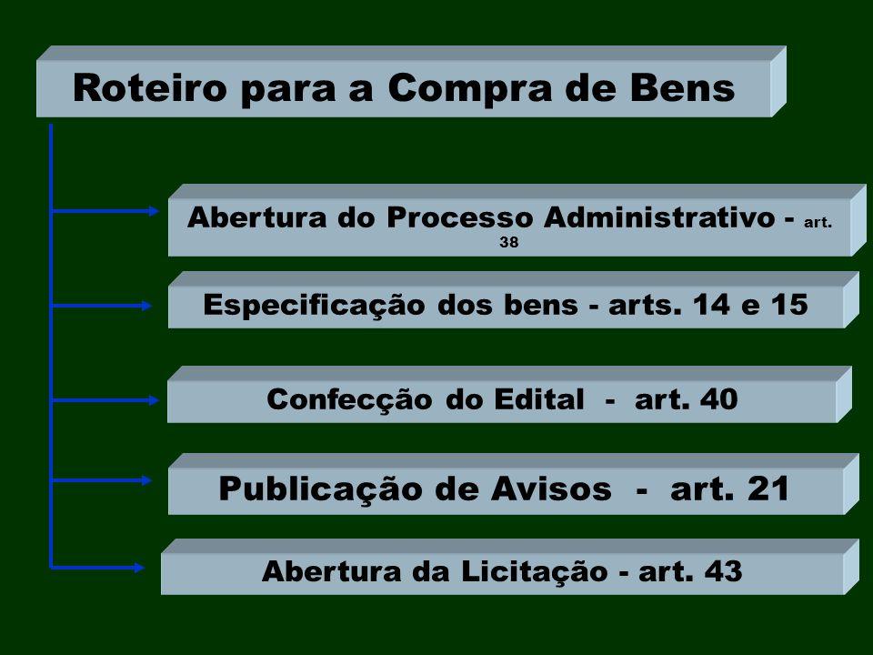 Confecção do Edital - art. 40 Publicação de Avisos - art. 21 Abertura da Licitação - art. 43 Roteiro para a Compra de Bens Especificação dos bens - ar