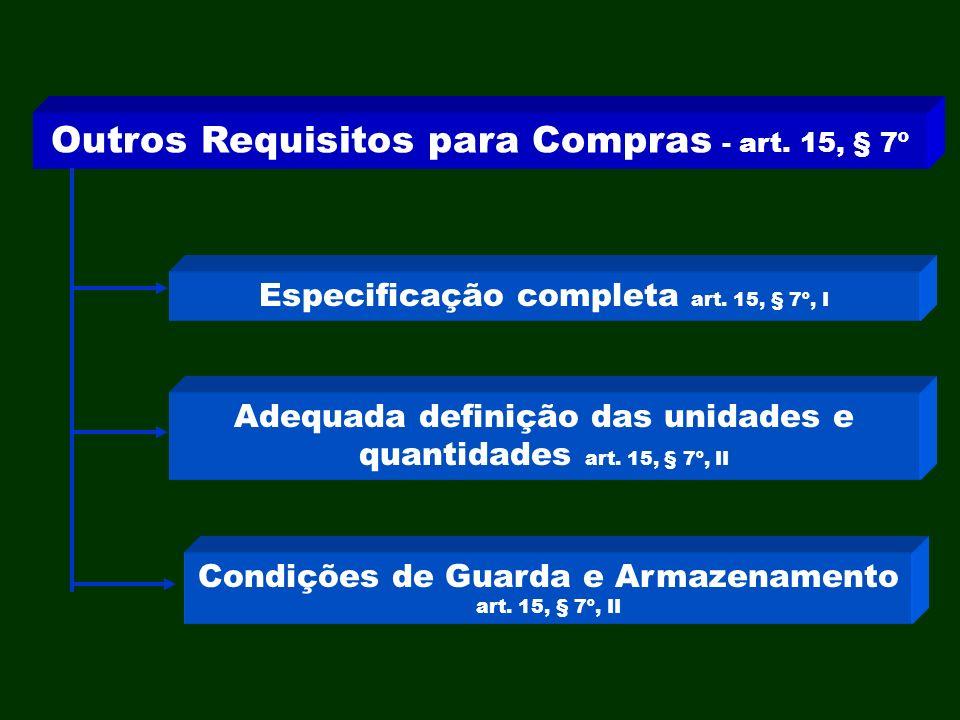 Outros Requisitos para Compras - art. 15, § 7º Especificação completa art. 15, § 7º, I Adequada definição das unidades e quantidades art. 15, § 7º, II