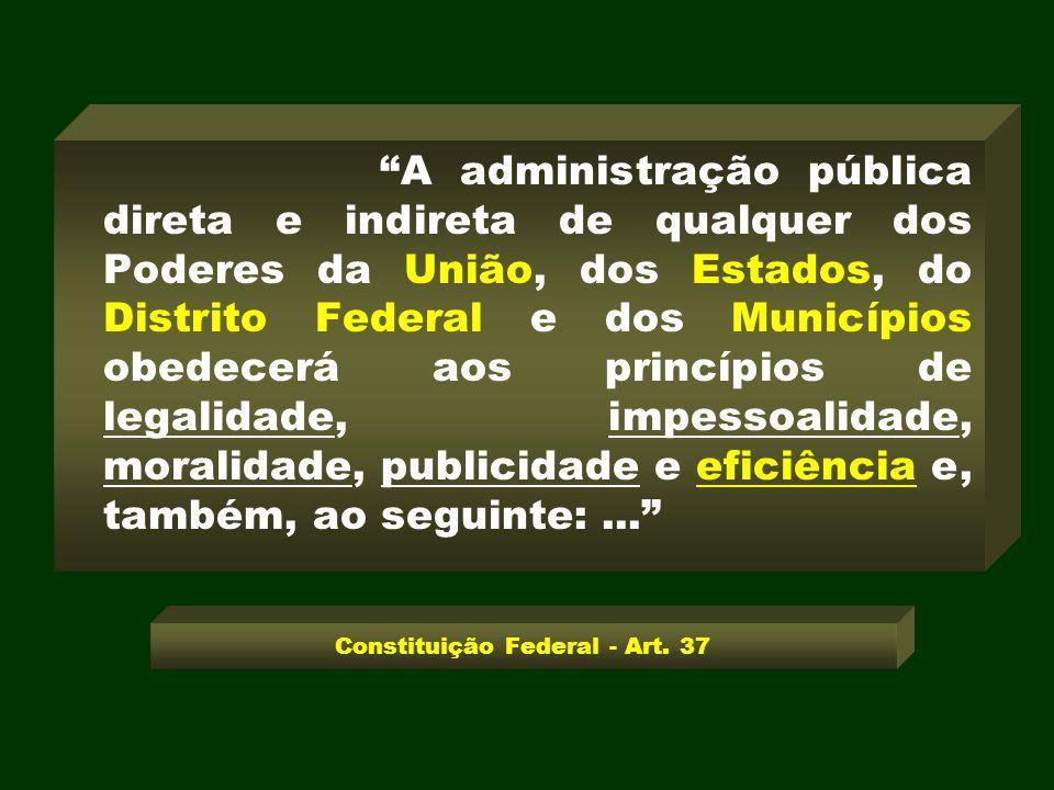 A administração pública direta e indireta de qualquer dos Poderes da União, dos Estados, do Distrito Federal e dos Municípios obedecerá aos princípios