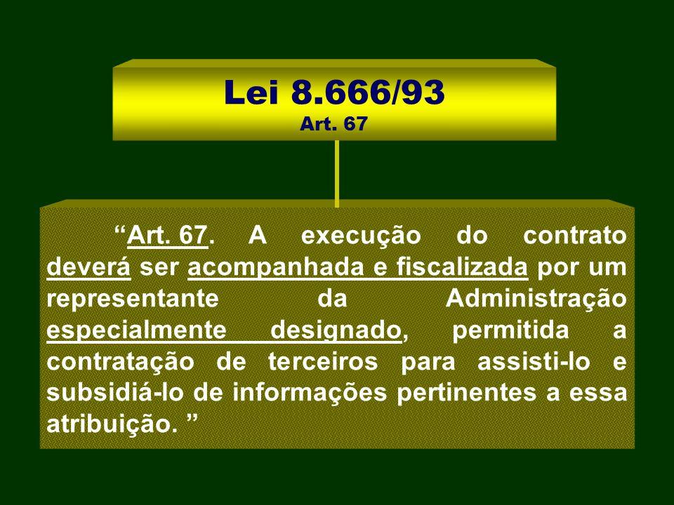Lei 8.666/93 Art. 67 Art. 67.A execução do contrato deverá ser acompanhada e fiscalizada por um representante da Administração especialmente designado