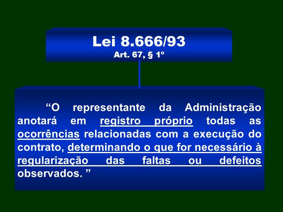 Lei 8.666/93 Art. 67, § 1º O representante da Administração anotará em registro próprio todas as ocorrências relacionadas com a execução do contrato,