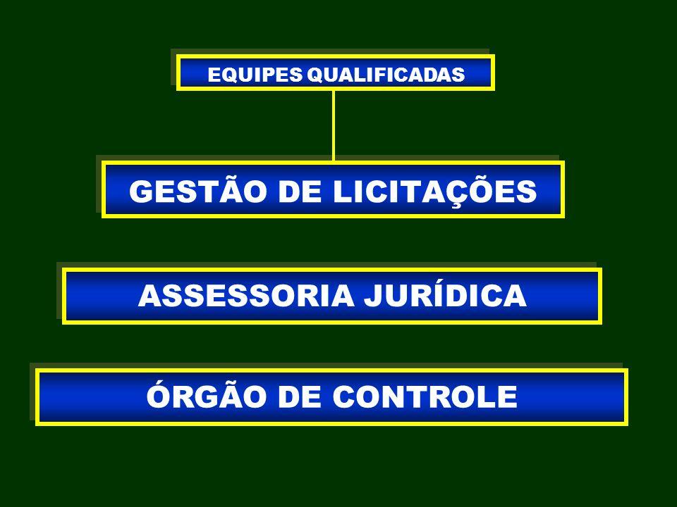 GESTÃO DE LICITAÇÕES ASSESSORIA JURÍDICA ÓRGÃO DE CONTROLE EQUIPES QUALIFICADAS