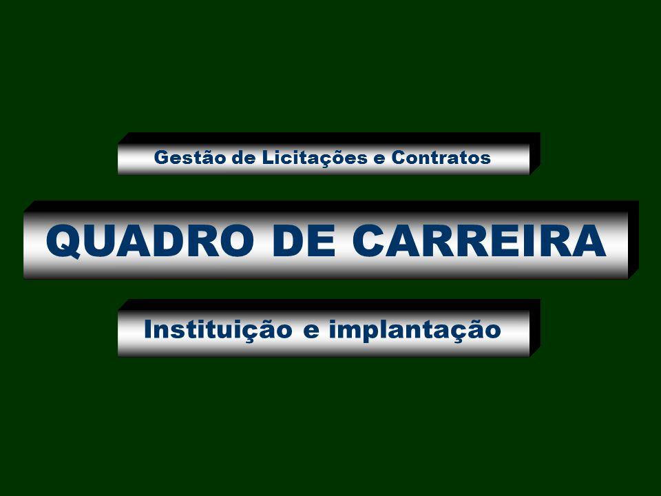 QUADRO DE CARREIRA Instituição e implantação Gestão de Licitações e Contratos