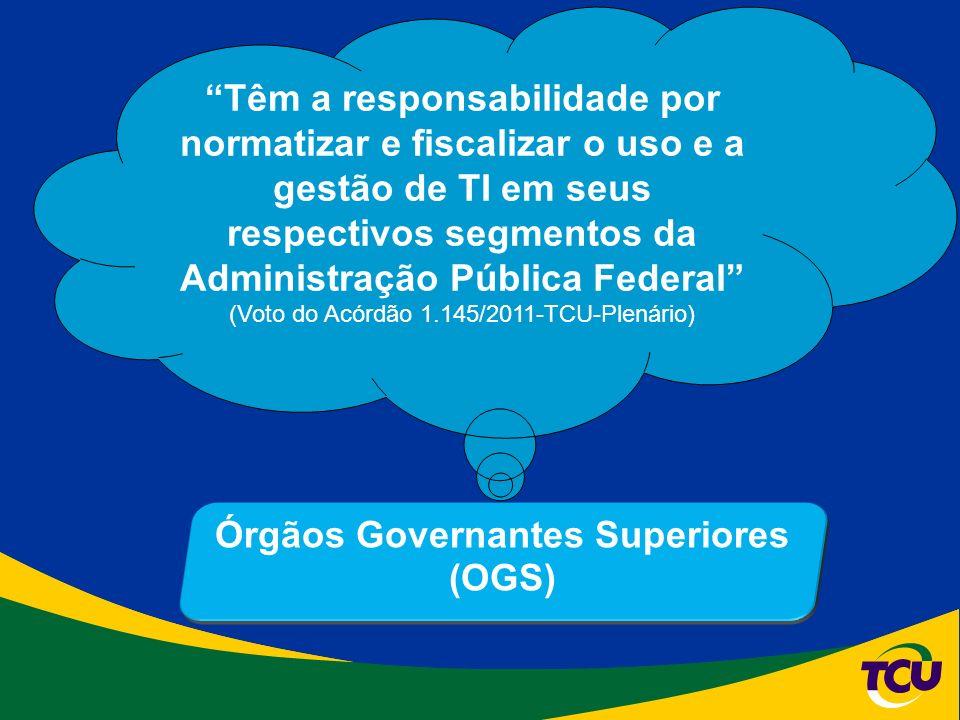 Órgãos Governantes Superiores (OGS) Têm a responsabilidade por normatizar e fiscalizar o uso e a gestão de TI em seus respectivos segmentos da Administração Pública Federal (Voto do Acórdão 1.145/2011-TCU-Plenário)