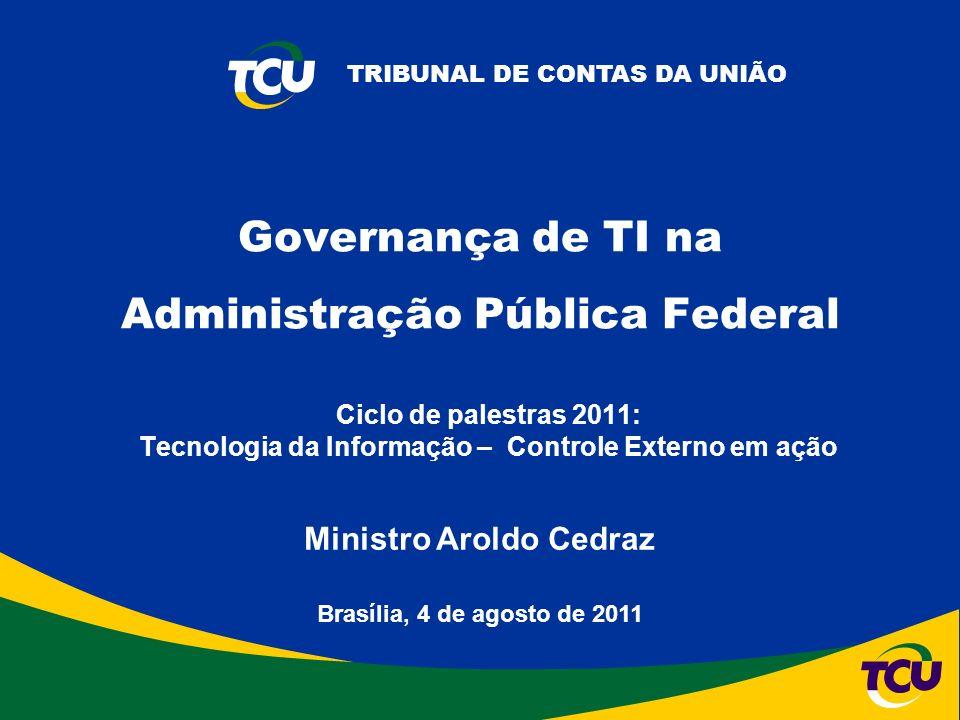 TRIBUNAL DE CONTAS DA UNIÃO Ciclo de palestras 2011: Tecnologia da Informação – Controle Externo em ação Brasília, 4 de agosto de 2011 Ministro Aroldo Cedraz Governança de TI na Administração Pública Federal